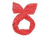 Twist Hair Scarf - Wire Headband - White Checkmarks on Red