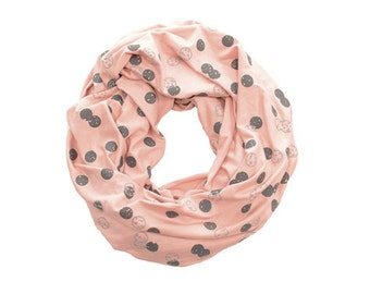 INFINITY SCARF - Screen Printed - Gray Orbit on Blush Pink