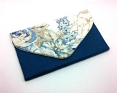 Blue Flower Envelope Bag Clutch Coin Purse Wallet Gift for Women Beige Leaf White Cotton Magnetic Snap