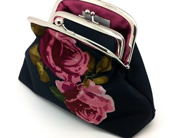 Pink Rose Kiss Lock Coin Purse Wallet Clutch Gift for Women Cotton Chintz Black Green Wine Silver Double Metal Frame