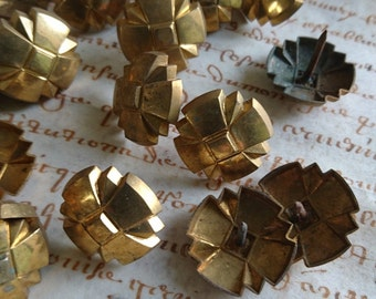 Batch 20 large antique French timeworn upholstery nails tacks brass decorative c1880 BELLE BROCANTE  Manoir attic clearance