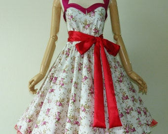 Bunny Ivory Vintage Pink Roses 50s Pin up Rockabilly Swing Dress Full Swing Skirt size SML