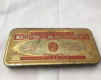 Antique Mathematical Instruments Tin Set