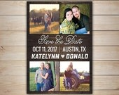 25 Rustic Save the Date Magnets with 4 photos, Cards, 5x7 magnets, Wedding Announcements, printable digital file customized with your photos