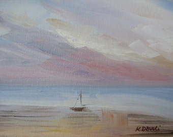 "Original Oil Painting Seascape ""Beached"""