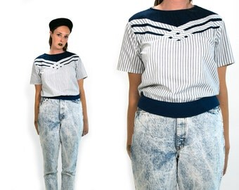 Vintage 1980's 1990's Navy Blue White and Denim Sailor Style Short Sleeved Blouse Women's Medium Large Retro/Hipster