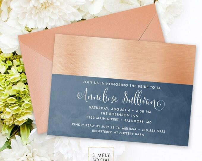 Navy Bridal Shower Invitation - Navy Blue and Rose Gold Dipped Shower Invite Navy and Gold Bridal Shower Printable