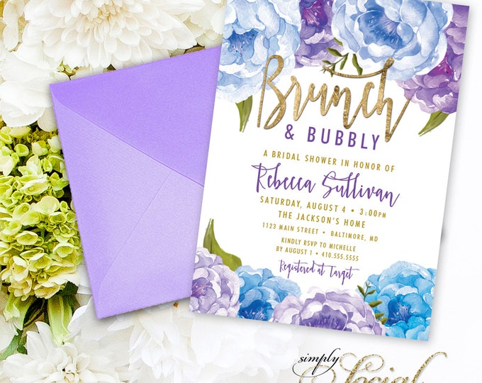Brunch and Bubbly Bridal Shower Invitation - Blue and Purple Peony Ranunculus and Faux Gold Foil Watercolor Boho Shower Invitation Printable