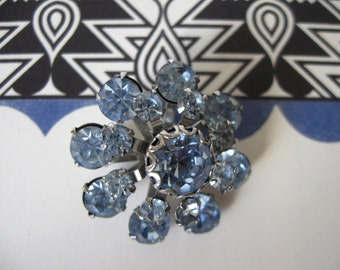 Small Vintage Light Blue Rhinestone Brooch