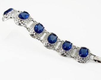 Chunky Blue Rhinestone Bracelet, Vintage Jewelry, Silver Tone, 1960s 60s Jewelry, Rhinestone Bracelet, Wide Bracelet, Dark Blue, Bracelet