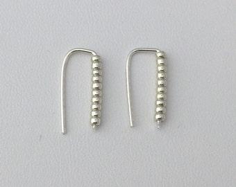 Modern Earrings; Silver ear climber earrings with silver beads stick Minimalist Jewelry; dainty jewelry