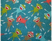 Sale - Sock Monkey Toss - Turquoise - Flannel Fabric BTY