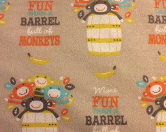 More Fun than a Barrel of Monkeys - Flannel Fabric - BTY