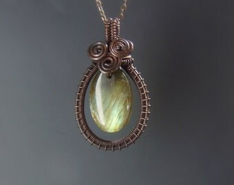 Labradorite stone necklace, natural gemstone pendant, rustic copper jewelry with golden yellow green flash