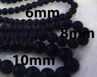"DIY Matt Black Stone 6mm 8mm 10mm Gemstone Smooth Round Gemstones 15"" Full Strand Loose Beads Jewelry Making Genuine Semi Precious Craft"