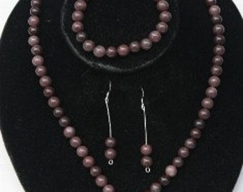 Plum Jade Necklace, Bracelet and Earring Set