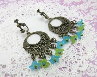 Lucite Flower Dangle Earrings. Clip On Earrings. Blue Flower. Green Flower. Chandelier Earrings. Bohemian Earrings. Colorful Earrings.