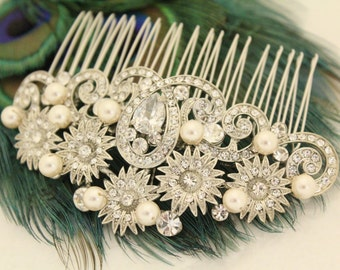 Crystal and pearl Wedding hair comb,Bridal hair accessories,Wedding hair piece,Rhinestone hair comb,Wedding comb,Bridal hair clip,Wedding