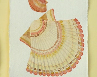 Original watercolour scallop sea shell painting illustration ocean beach series