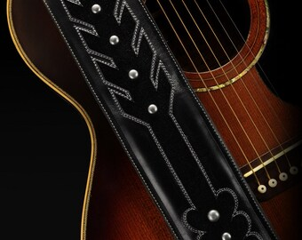 Suede Guitar Strap, Custom Leather Guitar Strap:  Blackarrow Guitar Strap
