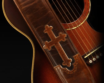 Leather Guitar Strap, Cross Guitar Strap:  Halens Cross Guitar Strap