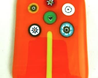 Fused Glass Magnet with Italian Millefiori on Tangerine Orange