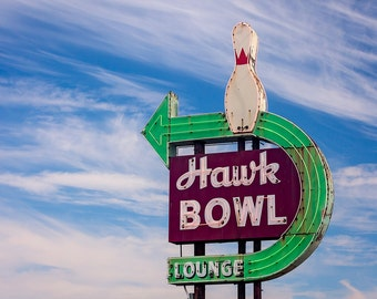 Hawk Bowling Alley Neon Sign Print | Mid Century Wall Art | Game Room Decor | Wisconsin Art | Mid Century Modern Art | Game Room Wall Art
