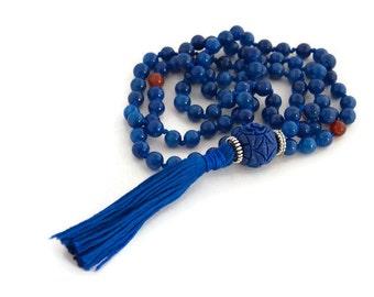 Blue tassel necklace - blue necklace - blue tassel - yoga jewelry - bohemian jewelry - long boho necklace