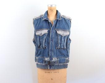 rare vintage 80s iconic Gasoline Jeans stonewashed denim vest - New Wave / early 1980s vintage - hipster / sleeveless jacket - retro style