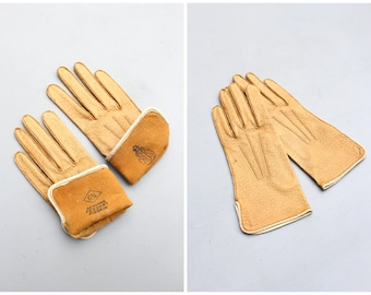 ladies vintage camel leather driving gloves - genuine peccary pigskin gloves / Mark Cross - 1950s ladies gloves / women's size 6 3/4