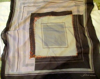 Fabulous Vintage Top DESIGNER, Signed PAOLI Scarf: Gorgeous, SILK, Large Square in Chocolate Brown, Beiges w/Orange Flowers - 1960's/1970's