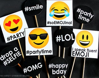 EMOJI PHOTO Props - emoji Photo Booth Props- Emoji party photo props - Selfie party photo props - DIY Printables - Instant Download