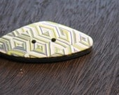 Polymer Clay Button Patchwork Quilt Patternl in Colors of Lime Green White and Black