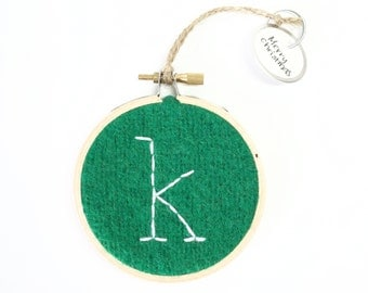 Embroidered Initial Ornament K / Monogram Hoop Art  / K Christmas Ornament / Wall Decor / Green Felted Sweater Wool Ornament by WormeWoole