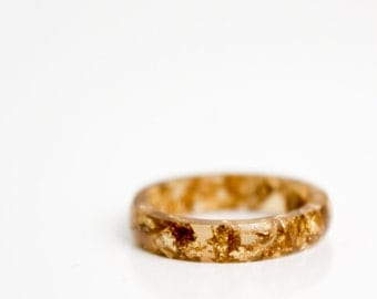 size 8 | thin smooth stacking eco resin ring | tiger eye with gold leaf flakes