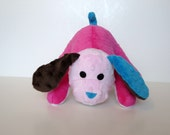 Minky Puppy Stuffed Animal - Minky Scrap Puppy - Small hot pink aqua chrocolate brown - Ready to Ship