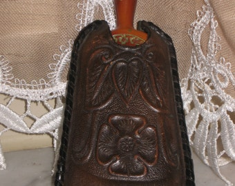 Antique Victorian Broom Toiled Leather Case Modesto California Butler's Whisk Brush