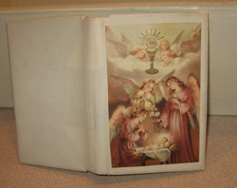 Guardian Angel Prayer Hardback Book with Cover Dated 1956 Approved Prayers for Children Made in Belgium
