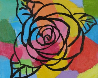 "Abstract Rose Original Art Acrylic Painting- 8"" x 8"""