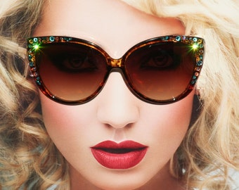 Womens Sunglasses, Sunglasses Cateye, Bling Eyewear, Vintage Cat Style Sunglasses with Swarovski Crystals