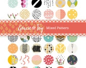 Mixed Patter- Boho-Geometric-Digital Collage Sheet-Printable images - 12 mm circle Cabochon- Instant download