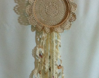 """Vintage Doily Wall Hanging """"Dream Catcher"""""""