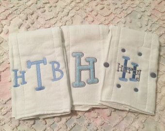 Light Grey and Baby Blue Monogrammed Burp Cloth Set of 3 for a boy