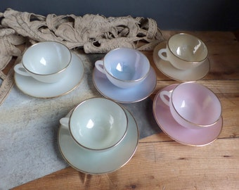 Vintage french design cups coffee pearly soft colors from the 50s pastel