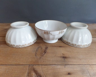 Vintage set of 3 FRENCH BOWLS embossed white & golden patterns