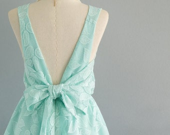 Mint green dress green lace dress green party dress mint prom dress mint cocktail dress bow back dress green bridesmaid dresses mint dress