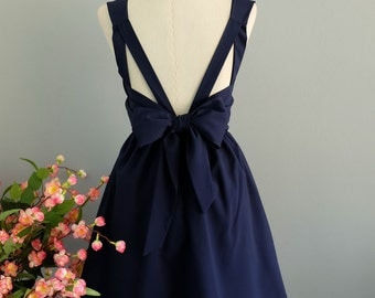 Navy dress navy party dress navy prom dress backless dress navy bridesmaid dress navy cocktail dress bow back dress