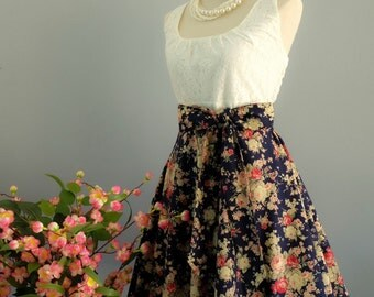 My lady - Spring Summer Sundress White Lace Top Navy Floral Skirt Navy Floral Bridesmaid Dress Lace Party Dress Prom Dress XS-XL