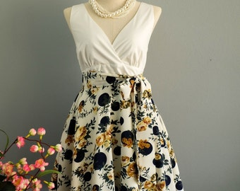 My Lady II Spring Summer Sundress White Top White Floral Navy Dot Skirt Party Tea Dress Floral Dot Bridesmaid Dresses Summer Dress XS-XL