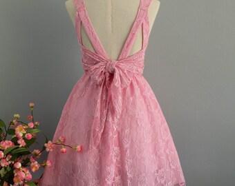 Party V Backless Dress Fresh Pink Lace Dress Pink Lace Prom Dress Pink Party Cocktail Dress Pink Lace Bridesmaid Dress Wedding Dress XS-XL
